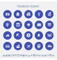 Tourism icon set Multicolored square flat buttons vector image vector image