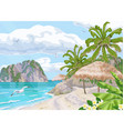 tropical beach with parasol and palm trees vector image vector image