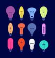 various light bulbs creative idea colourful bulbs vector image vector image