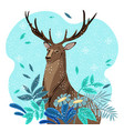 winter deer cartoon character vector image vector image