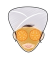 woman with towel on head spa icon image vector image