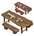Wooden bench and a table with dominoes chips vector image vector image