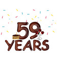59th years anniversary celebration design card vector image vector image