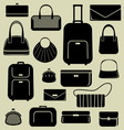 Bags suitcases icons set vector image vector image