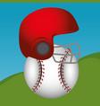 baseball sport helmet icon vector image vector image