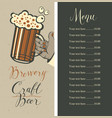 beer menu with price list and beer glass in hand vector image vector image