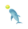 blue dolphin performing trick with ball for vector image vector image