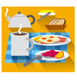 breakfast with coffee and fried eggs vector image