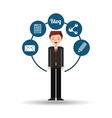 businessman standing with social network icon vector image vector image