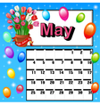 calendar for May Mothers Day f vector image vector image