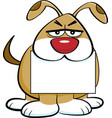 cartoon angry dog holding a sign in its mouth vector image vector image