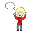 cartoon happy boy laughing with thought bubble vector image vector image