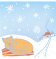 Christmas card with cat and snow vector image vector image