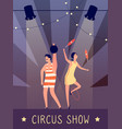 circus show background strongman and juggler in vector image