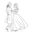 coloring book couple dancing waltz vector image