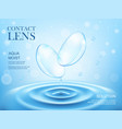 contact lenses or eye lens water splash solution vector image vector image
