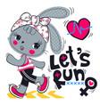 cute cartoon rabbit girl running on street vector image vector image