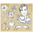 design set with handsome man holding apple vector image