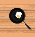 egg sunny on fry pan with wooden table background vector image