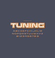 extended sans serif font in racing style vector image vector image