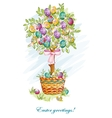 Festive postcard with Easter eggs and baskets vector image