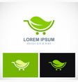 green leaf organic cart logo vector image vector image