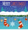 Greeting card with Christmas decoration gifts vector image vector image