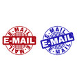 grunge e-mail scratched round stamps vector image vector image