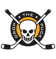 Hockey emblem with skull and crossed hockey sticks vector image