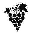 icon silhouette of grapes with leaves on white vector image vector image