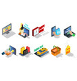 isometric ecommerce elements collection vector image vector image
