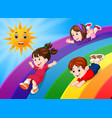 kids sliding on rainbow in sky vector image