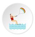 kitesurfing icon circle vector image vector image