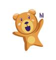 light brown teddy bear saying hi on a white vector image vector image
