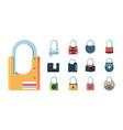 lock set padlock key prison secret code door vector image vector image