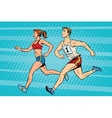 Man woman athletes running track and field summer vector image