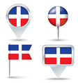 Map pins with flag of Dominican Republic vector image vector image