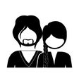 monochrome silhouette with half body couple vector image vector image