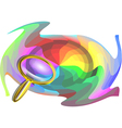 multicolor background and magnifier vector image vector image