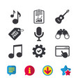 music icons microphone acoustic guitar vector image vector image