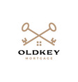 old key cross house home mortgage real estate vector image