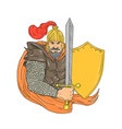 old knight sword shield drawing vector image vector image