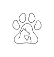 pet icon drawn by one line vector image vector image