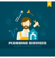 Plumber Flat Icon vector image vector image
