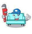 plumber sofa mascot cartoon style vector image