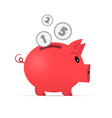 Red Piggy Bank Isolated on White Background vector image vector image