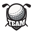 retro style sport emblem with golf ball and vector image