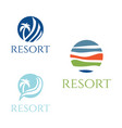 set abstract template logo design for resort vector image