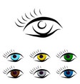 set od different color eyes vector image