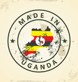 Stamp with map flag of Uganda vector image vector image